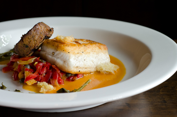 Crisp Local Fluke, Fennel, Peperonata Rustica, and House-made Chorizo