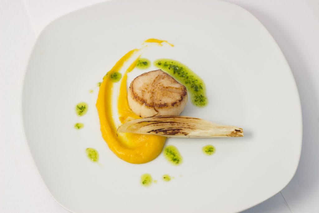 Diver caught Scallop, Grilled Endive, Curry Kabocha Squash Puree