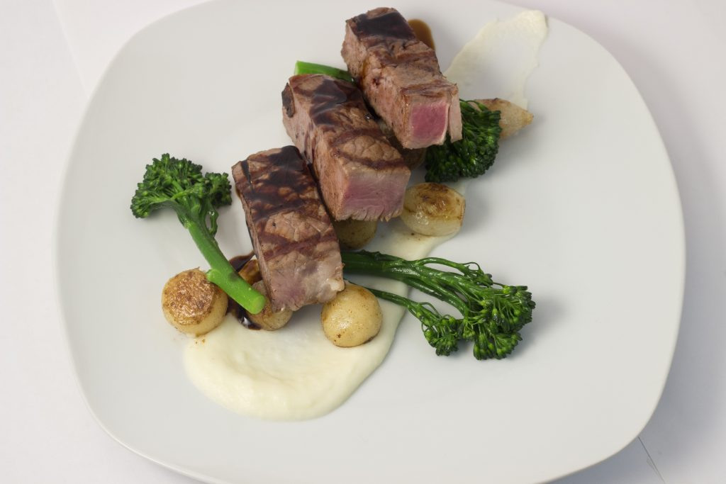 Prime heart of the Ribeye, Roasted broccolini, Potatoe Puree and Roasted Yukons
